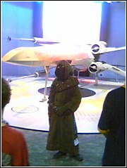 A jawa before a 'life-size' X-Wing.  Click to enlarge.